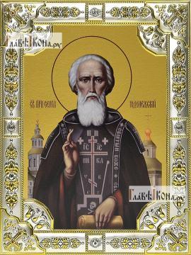 Сергей Радонежский (на фоне храмов), икона в посеребренной ризе, 18х24 см.
