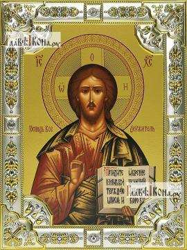Спаситель (поясной), икона в посеребренной ризе, 18х24 см.