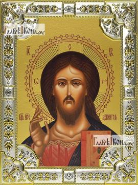 Спаситель (оплечный), икона в посеребренной ризе, 18х24 см.