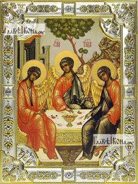 Троица Пресвятая, икона в посеребренной ризе, 18х24 см.