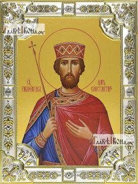 Константин Равноапостольный, икона в посеребренной ризе, 18х24 см.
