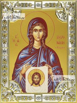 Вероника Праведная , икона в посеребренной ризе, 18х24 см.