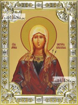 Виктория Кордубская, икона в посеребренной ризе, 18х24 см.