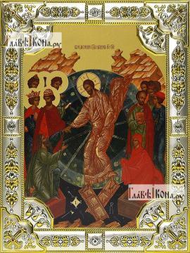 Воскресение Христово, икона в посеребренной ризе, 18х24 см.
