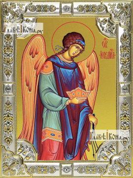 Иегудил архангел, икона в посеребренной ризе, 18х24 см.
