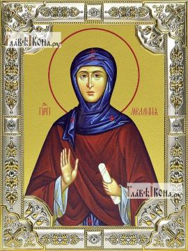 Мелания Римляныня, икона в посеребренной ризе, 18х24 см.
