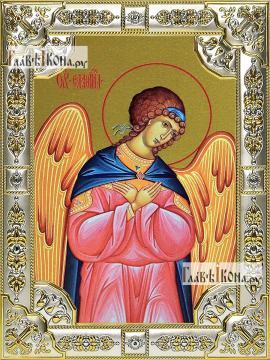 Селафиил архангел, икона в посеребренной ризе, 18х24 см.