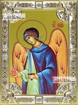 Уриил архангел, икона в посеребренной ризе, 18х24 см.