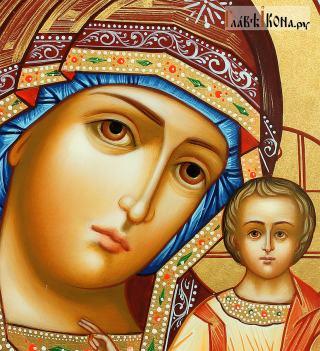 Писаная икона Казанской Богородицы, на голубом фоне, артикул 5339 - лик