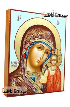 Писаная икона Казанской Богородицы, на голубом фоне, артикул 5339 - вид сбоку