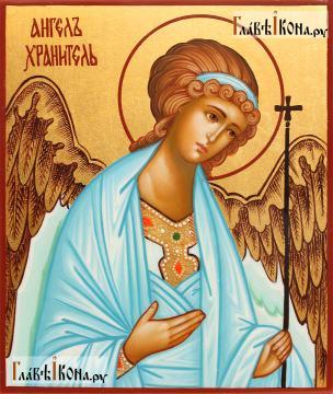 Рукописная икона Ангела Хранителя (поясного), артикул 714