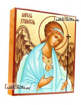 Писаная икона Ангела Хранителя в деревянном киоте-подставке, артикул 702 -вид иконы сбоку