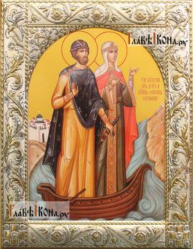 Петр и Феврония (в лодочке) икона в посеребренной ризе, артикул 41879