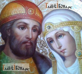 Петр и Феврония (поясные, с голубем), икона маслом - лики святых
