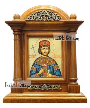 Икона царя Константина в киоте-подставке из дуба, артикул 6264