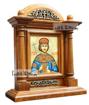 Икона царя Константина в киоте-подставке из дуба, артикул 6264 - вид сбоку