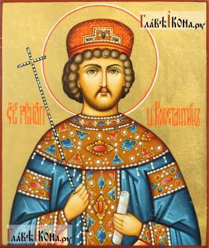 Икона царя Константина в киоте-подставке из дуба, артикул 6264 - вид иконки