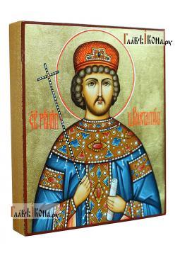 Икона царя Константина в киоте-подставке из дуба, артикул 6264 - икона сбоку