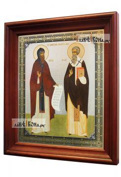 Кирилл и Мефодий, аналойная икона в темном киоте - вид сбоку