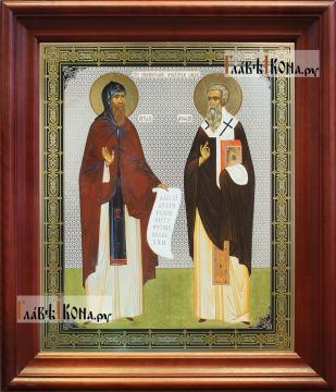 Кирилл и Мефодий, аналойная икона в темном киоте