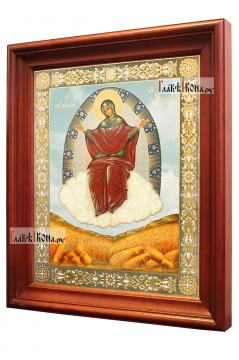 Спорительница хлебов, аналойная икона в темном киоте - вид сбоку