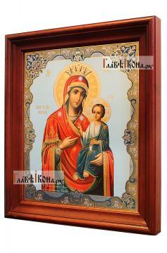 Иверская Божия Матерь, аналойная икона в темном киоте - вид сбоку