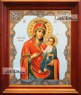 Иверская Божия Матерь, аналойная икона в темном киоте