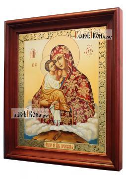 Почаевская Божия Матерь, аналойная икона в темном киоте - вид сбоку