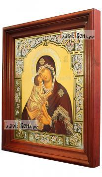 Донская Божия Матерь, аналойная икона в темном киоте - вид сбоку