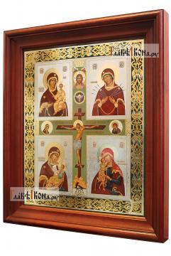 Четырехчастная Божия Матерь, аналойная икона в темном киоте - вид сбоку