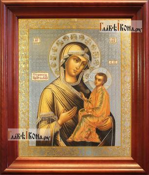 Тихвинская Божия Матерь, аналойная икона в темном киоте