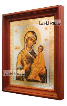 Тихвинская Божия Матерь, аналойная икона в темном киоте - вид сбоку