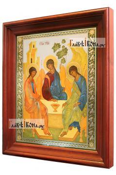 Троица, аналойная икона в темном киоте - вид сбоку