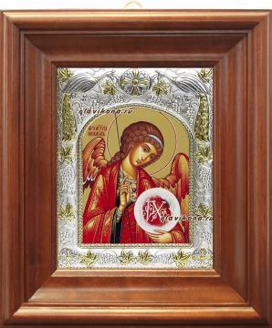 Михаил архангел, икона в ризе, артикул 41173 - вид в киоте