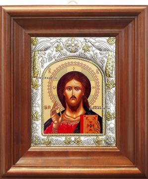 Господь Вседержитель, икона в ризе, артикул 41103 - вид в киоте
