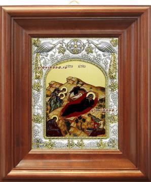 Рождество Христово, икона в ризе, артикул 41641 - вид в киоте