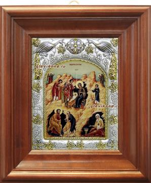 Рождество Христово (с волхвами), икона в ризе, артикул 43028 - вид в киоте