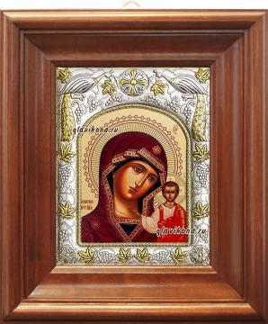 Казанская Божия Матерь, икона в ризе, артикул 41203 - вид в киоте