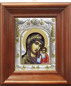 Казанская Божия Матерь (белый фон), икона в ризе, артикул 41259 - вид в киоте