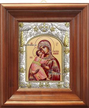 Владимирская Божия Матерь, икона в ризе, артикул 41208 - вид в киоте
