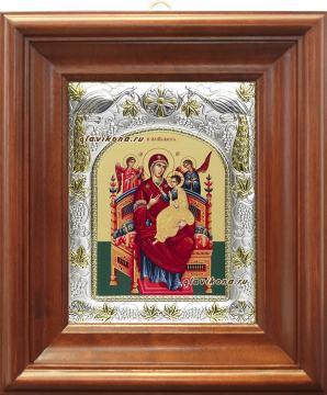 """Божия Матерь """"Всецарица"""", икона в ризе, артикул 41315 - вид в киоте"""