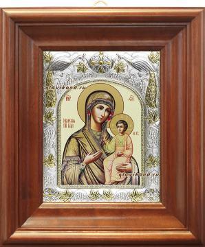 Иверская Божия Матерь, икона в ризе, артикул 41321 - вид в киоте