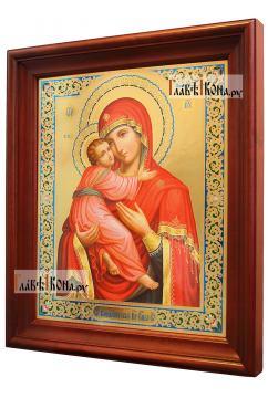 Владимирская Божия Матерь, аналойная икона в темном киоте - вид сбоку