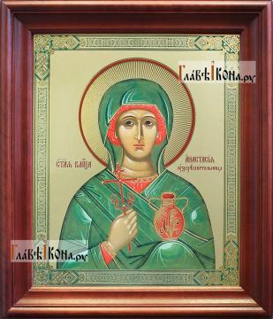 Анастасия Узорешительница, аналойная икона в темном киоте