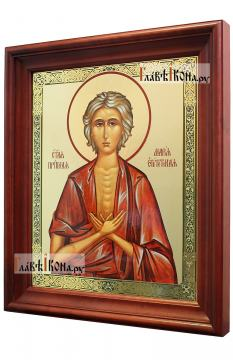 Мария Египетская, аналойная икона в темном киоте - вид сбоку