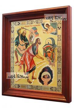 Усекновение главы Иоанна Предтечи, аналойная икона в темном киоте - вид сбоку