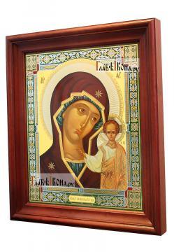 Казанская Божия Матерь (канонический стиль), аналойная икона в темном киоте - вид сбоку