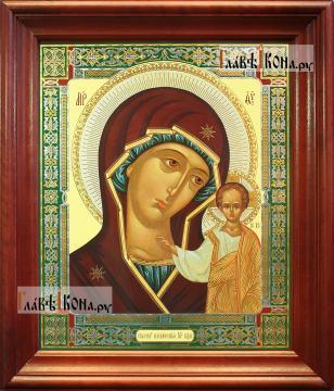 Казанская Божия Матерь (канонический стиль), аналойная икона в темном киоте