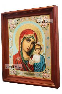 Казанская Божия Матерь (живописный лик), аналойная икона в темном киоте - вид сбоку