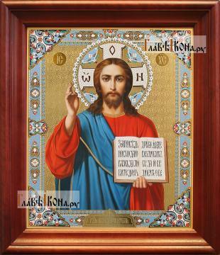 Спаситель (поясной), аналойная икона в темном киоте